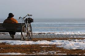 woman sitting, bike