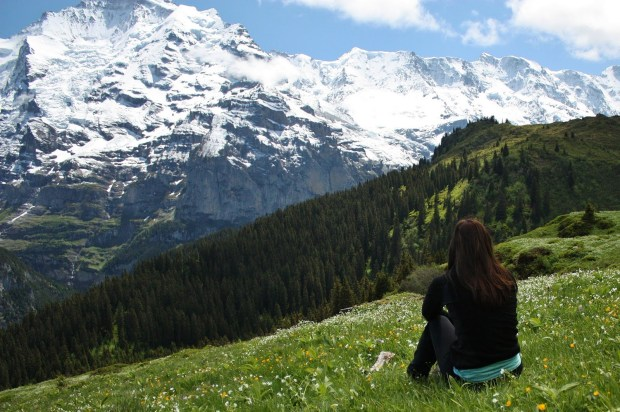 hiker mountain view