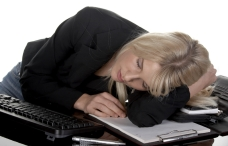 woman tired at work