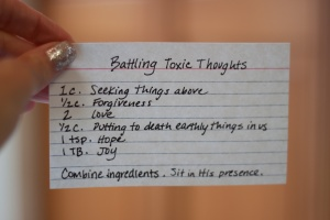 toxic thoughts, Gods presence