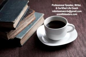 banner, books, coffee cup