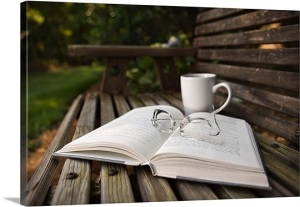still-life-of-open-book-eyeglasses-and-coffee-cup-on-wooden-bench,1010905 - Copy