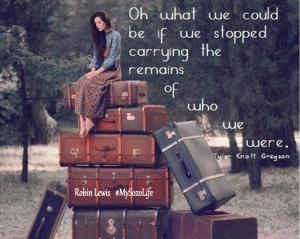 Woman on luggage, past, future, burdens